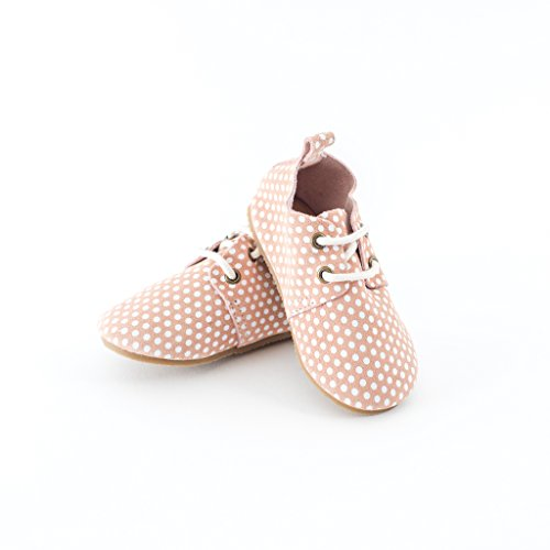 """Piper Finn Pink DOTS Genuine Leather Oxford Shoes - Size 6 up to 5.75"""" Hard Sole"""