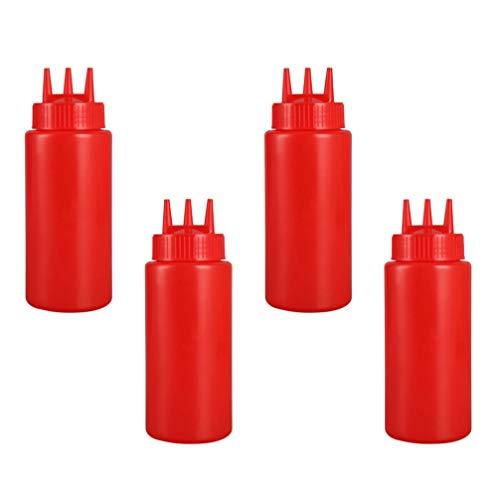 Cabilock 4Pcs Squeeze Condiment Bottle 16Oz 480Ml Botellas de Plástico con Tapas para La Cocina Casera Salsa Bbq Aderezo Jarabe Artes Artesanías Rojo