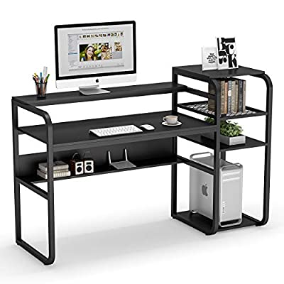 Tribesigns 57 inch Computer Desk with Storage Shelves, Industrial Office Desk with Monitor Stand, Study Writing Table Workstation with Printer Shelf and Tower Shelf for Home Office (Black)