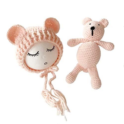 Frecoccialo Disfraza para Bebé Gorro de Ganchillo de Linda Oso, Atrezzo Disfraz Fotografia, Sombrero de Bebé Regalo para Bebé recién Nacido,2ps 1*Gorro + 1* muñeca Oso