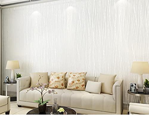 Papel Pintado No Tejido Rayas Simples Lisas De Color Sólido Moderna Decoración de Pared para el Hogar Dormitorio Sala de Estar TV Telón de Fondo 0.53x9.5 m (Blanco Crema)