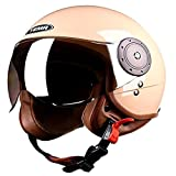 Cascos de Motocicleta Para Hombres y Mujeres,Cascos de Ciclomotor con Viseras,ECE Homologado,Casco de Moto Con Visiera,Retro Jet Casco Para Temporadas Universal Beige,58~60cm