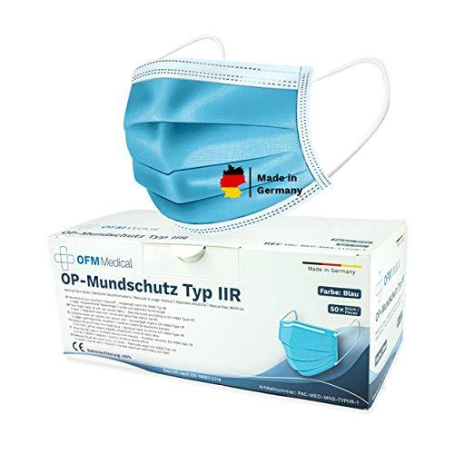 P.A.C. OFM Medical OP-Mundschutz Typ IIR 50 Stück, CE Zertifiziert, Atemschutz Maske, OP Mundschutz, Mund Nasen Maske, höchste Filterstufe, BFE 99%