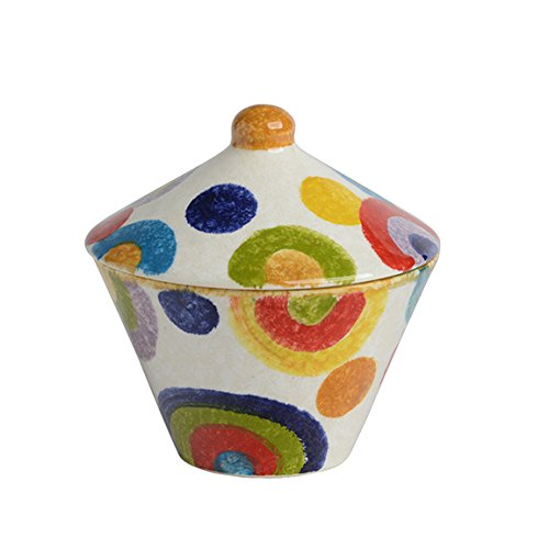 Sugar Bowl with Lid, Ceramic Dish Italian Dinnerware - Circle Candy Bowl with Lid - Bright, Colorful and Handmade in Italy from our POP Collection