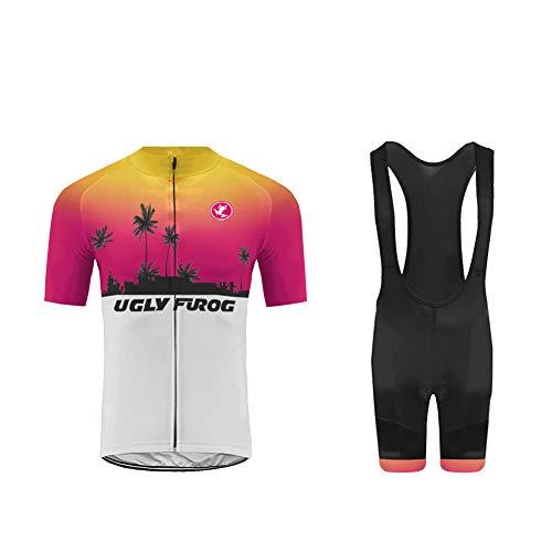 Uglyfrog Ciclismo Uomo Estive Magliette MTB Maniche Corte + Bib Pantaloncini Imbottiti Completo Bici da Corsa PRO
