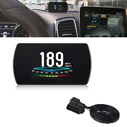 HUD Head Up Display Für Auto Kraftstoffverbrauch Geschwindigkeitsmesser KM/h Überdrehzahl Alarm Voltmeter Motorausfall Motordrehzahl Wassertemperaturmesser Pause Erinnerung OBD2 P12
