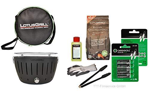 Lotusgrill Premiumset 1 Grill mit USB Anschluß, 1x Grillhandschuh, 1x Buchenholzkohle 1 kg, 1x Brennpaste 200ml, Vorratspack Batterien AA, 1x Transporttasche raucharm Grillen (Anthrazit)