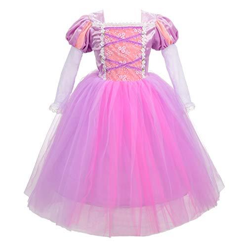 Lito Angels Disfraz de Princesa Rapunzel para Niñas, Vestido de Fiesta de Cumpleaños Carnaval Talla 5-6 años, Manga Larga, Morado