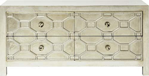Kare Design Sideboard Alhambra, TV Lowboard mit 4 Schubladen, Wohnzimmer Kommode, Silber (H/B/T) 61x124x38 cm