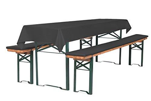 TexDeko Bierbank-Auflagen 2cm 3TLG Set mit Tischdecke (100x250 cm) Anthrazit