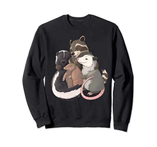 Abrazo grupal: mapache, zarigüeya, mofeta y armadillo Sudadera