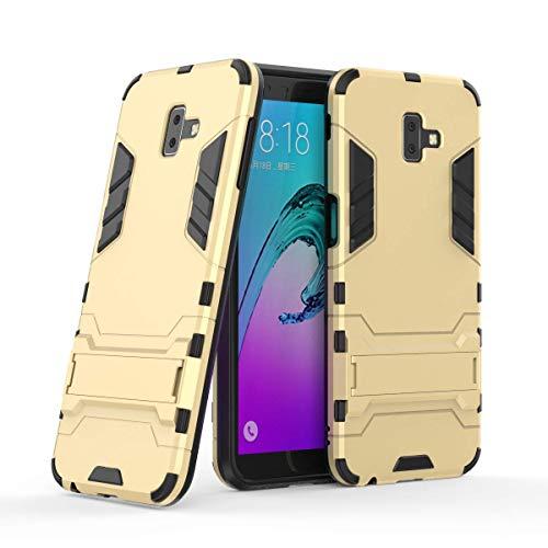 Miagon Kickstand Coque pour Samsung Galaxy J6 Plus,Armour Robuste Hybrides Double Couche Defender Hard Antichoc Case Cover avec Supporter,Or