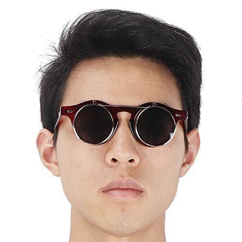Gafas de sol estilo vintage Flip aspecto de moda 2 colores diferentes disponibles Material plástico estilo elegante, para mujeres (marrón)