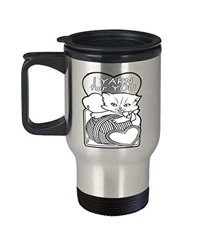 Vintage Valentine Day Card Travel Mug Cat I Yarn For You Cute Car Hot Cold Drink Tumbler