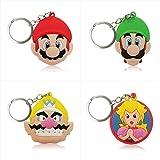 YUNJING súper Mario 4pcs/Set súper Mario Cartoon Figure Key Chain PVC Llavero Niños Regalo Party Favor Llaveroporte Titular Llavero Moda Trinket