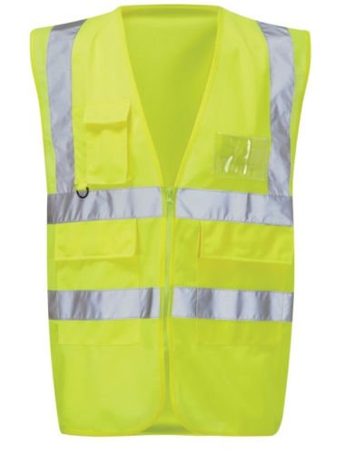 Fast Fashion - Gilet Zip Hi Vis Poches Multiples Reconditionnement - Hommes