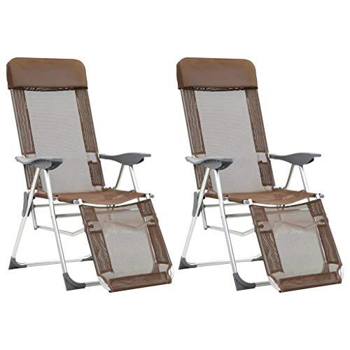 Festnight Fauteuil de Jardin Pliant en Aluminium Chaise de Relaxation Chaise Longue de Jardin Chaises de Camping Pliables 2pcs et Repose-Pied Taupe