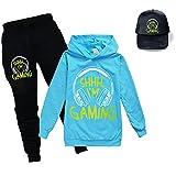 Can't Hear You I'm Gaming Kids Hoodie Pantalones Set Kids Top Cómodo Jumper Unisex Moda Trajes Youtube Merch, azul claro, 3-4 Años