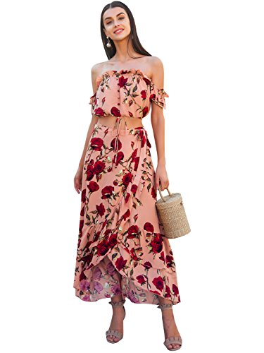 Terryfy Damen Lang Kleid Elegant Zweiteilig Bauchfrei Blumen Schlitz Volant Boho Dress Sommerkleid Rosa