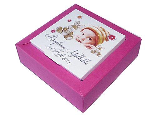 lot de 4 Boîte à dragées DOUDOU NINA PM personnalisée avec votre photo et votre texte pour baptême couleur fuschia et jaune - ballotin à dragées design et moderne