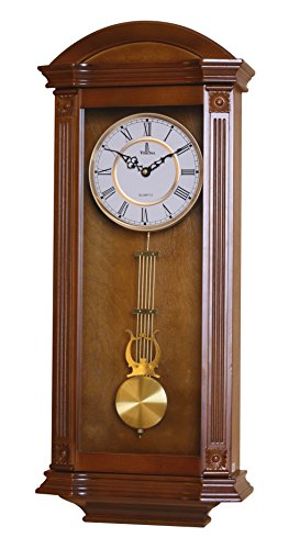 Pendulum Wall Clock, Silent Decorative Wood Clock With Swinging Pendulum, Battery Operated, Large Elegant Wooden Design, For Living Room, Kitchen, Office & Home Décor, 27.25 x 11.25 inches