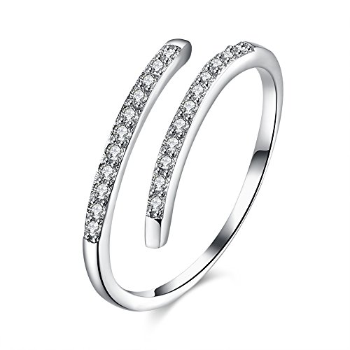 Anello aperto da donna/ragazza, elegante, taglia unica, a fascia, in argento Sterling 925