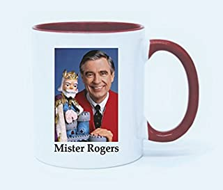Funny Coffee Lover Gift - Mister Rogers Coffee Mug Tea Cup 11 Ounce (White+Red)