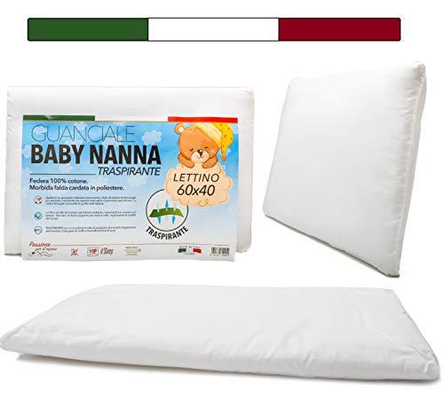 Cuscino Lettino Bambino (100% Made in Italy e OEKO-TEX®) - Cuscino Bambino Taglia 40x60 cm - Cuscino Antisoffoco per Bambini Traspirante, Antiacaro, Antiallergico - Fibra ad Alta Tecnologia