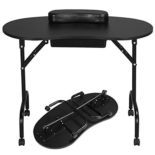 Yaheetech Portable Folding Manicure Table Nail Technician Desk Workstation with Client Wrist Pad/1-Drawer/Lockable Wheel/Carrying Case 37-inch Black