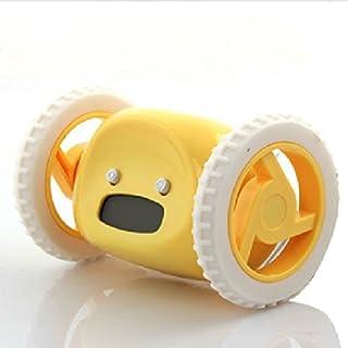 LYgMV 怠惰な目覚まし時計、ランニング目覚まし時計ランニング電子アラームクロックスヌーズ移動車創造的なギフト時計 (Color : Yellow)