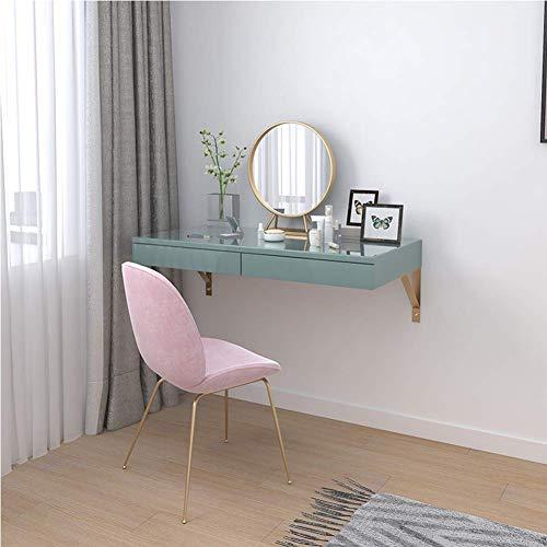 LLFFDC Houten make-uptafel met spiegel, aan de muur bevestigde kaptafel, studiebureau, werkkamer, bureau, cosmeticastafel met schuifladen voor een rijke opbergruimte