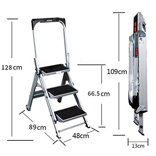 Vouwtrap, 2-staps / 3-staps / 4-staps ladder van aluminium, vouwladder, multifunctioneel huishouden kruk met wielen, anti-slip mat en gereedschapsbox x 330 lbs max. capaciteit 3-Step