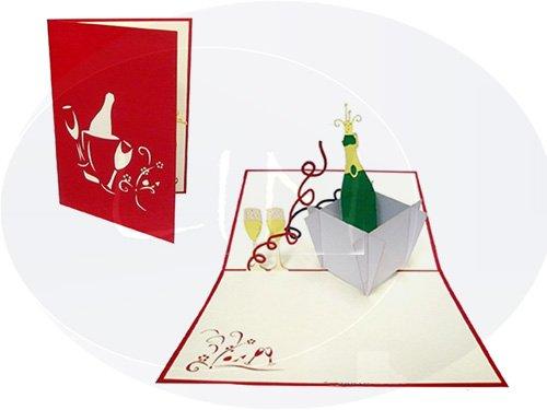 POP UP 3D Karte Geburtstagskarte Glückwunsch Gutschein Champagner (rot)(#134)
