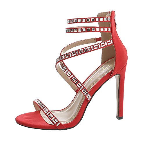 Ital-Design Damenschuhe Sandalen & Sandaletten High Heel Sandaletten Synthetik Rot Gr. 40