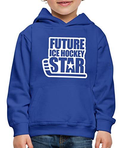 Spreadshirt Eishockey Future Ice Hockey Star Kinder Premium Hoodie, 134-146, Royalblau