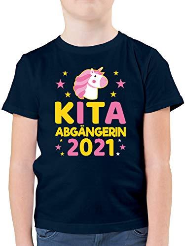 Einschulung und Schulanfang - Kita Abgängerin 2021 rosa/gelb Einhorn Sterne - 128 (7/8 Jahre) - Dunkelblau - Schule - F130K - Kinder Tshirts und T-Shirt für Jungen