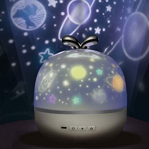 Mobestech Lámpara de proyector de cielo giratorio 360 universo de luz nocturna de estrella para decoración de hogar de dormitorio de niños 6 patrones