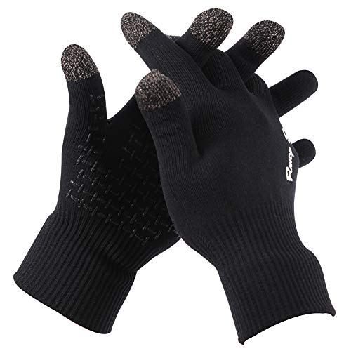 RANDY SUN Waterproof Fashion Gloves, Hiking Camping Gardening Windproof Warm Protective Skiing Snowboarding Snowmobile Running Cycling Gloves Gift for Dad-Black, Large