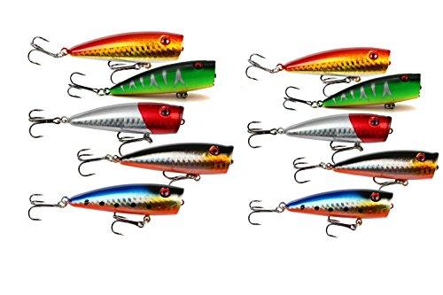 yueton Lot of 10pcs Fishing Topwater Floating Popper Poper Lure 6.5cm 2.6