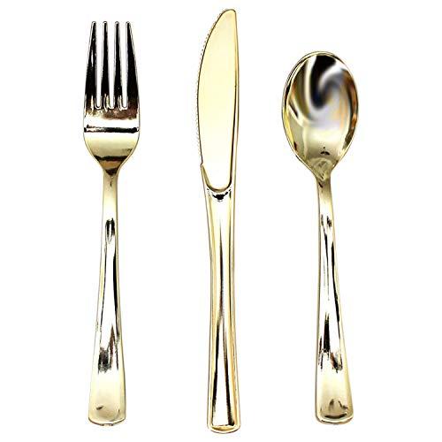 Besteck Set (180 Pcs) - Gabel, Messer, Löffel aus Plastik mit Goldenes Oberfläche, Wiederverwendbares Geschirr - besteck Plastik set - Reise Besteck für Partys, Hochzeiten, Picknicks
