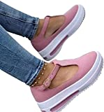2021 Spring Retro Round Head Loafers for Women, Height Increase Shoes Buckle Casual Single Sandals for Indoor & Outdoor, Wedge Heel Buckle Design Walking Shoe Pink 38