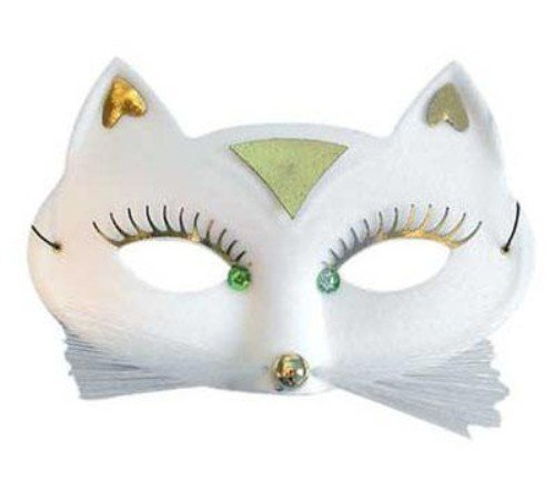Masquerade Eyemask - Petit Chat (feutre, coups de fouet et bijoux) - Blanc [Jouet]