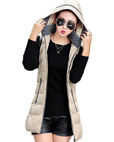 Mujer Chaleco Sin Mangas Abrigos con Capucha Pluma Acolchado de Invierno Beige XL