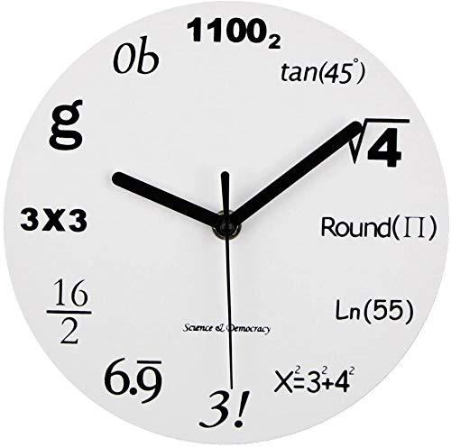 """Math Uhr, einzigartige Wanduhr Modernes Design Neuheit Mathe Gleichung Uhr - Jede Stunde markiert durch eine einfache Mathe-Gleichung (12\"""" (30 cm)) (Color : White)"""