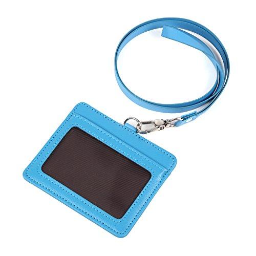 モノボックスジャパン 牛革 IDカードホルダー ネックストラップ ポケット2か所 安全装置 強化フィルム 軽量モデル パスケース 1name-mono3 (スカイブルー)