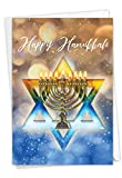 The Best Card Company Festival of Lights - Hanukkah Greeting Card with Envelope (4.63 x 6.75 Inch) - Glowing Blue and Gold Star C3687AHKB