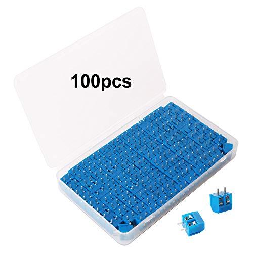 GTIWUNG 100 Stück 5mm 2 Pin PCB Mount Screw Terminal Block, Leiterplatten-Schraubklemmen Steckverbinder Blau, 300V 15A
