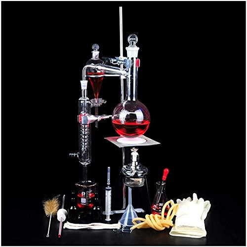 LSWY Equipo de Vida Laboratorio Destilación Destilación Conjunto Escolar Laboratorio Juego de cristalería Experimento químico Equipo Purificación/Refinación de Aceite Esencial/Agua destilada (Tama