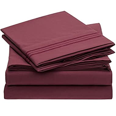 Ideal Linens Bed Sheet Set - 1800 Double Brushed Microfiber Bedding - 4 Piece (Queen, Burgundy)