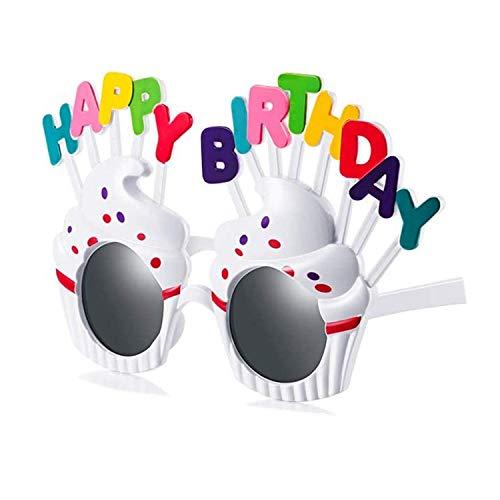 Longsing Gafas de Cumpleaños Gafas de Feliz Cumpleaños Juguetes Gafas de Sol de Fiesta Gafas de Flash Las Gafas Decorativas Son Gafas Nuevas Adecuadas para Niños y Adultos(Blanco)